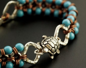 Morgance Bracelet - Beaded Japanese 8 into 1 with Turquoise Swarovski Pearls - Kit or Expertly Made