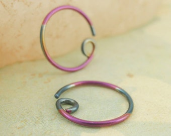 1 Pair - Bi Color Glow Niobium Hypoallergenic Earring Hoops - 20 gauge  - You Choose the Size - Blue and Purple - Switch Earring System