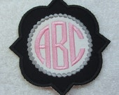 Quatrefoil Dotted Triple Circle Monogram Embroidered Iron On Applique Patch MADE TO ORDER