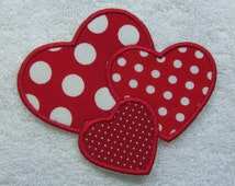 Triple Hearts Fabric Embroidered Iron On Applique Patch Ready to Ship