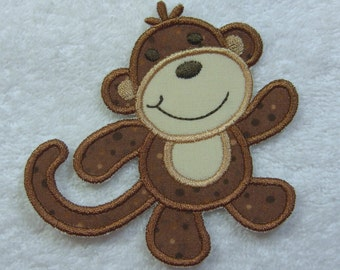Cute Monkey Fabric Embroidered Iron On Applique Patch Ready to Ship