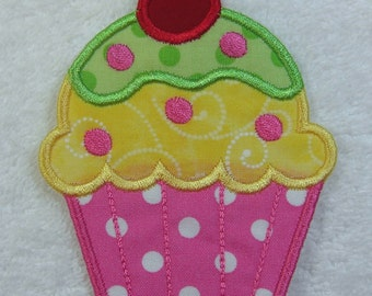Cupcake Fabric Embroidered Iron On Applique Patch Ready to Ship