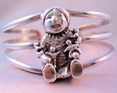 1989 Native American Sterling Silver Cuff Bracelet Figural Indian Woman with Children Signed Vintage Jewelry Jewellery