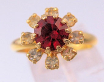 1960s Red & Clear Rhinestone Ring Adjustable Gold Plated Costume Vintage Jewelry Jewellery