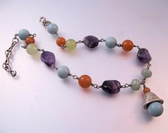 """Vintage MEI FA Gemstone Necklace 17.5"""" Amethyst Carnelian Jewelry Jewellery"""