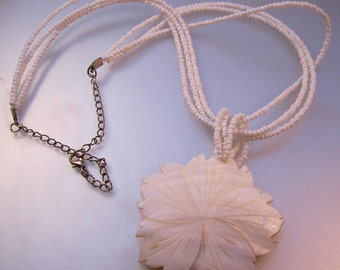 Vintage Hawaiian Hand Carved Mother of Pearl Pendant Necklace Flower White Seed Pearl Jewelry Jewellery