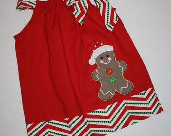 Pillowcase Dress toddler dresses personalized monogrammed gingerbread man Christmas applique, girls dresses by blakeandbailey