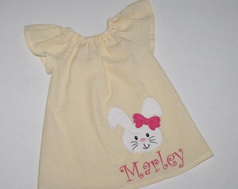 Easter dresses for girls yellow seersucker Peasant dress with bunny applique and monogram name toddler Easter outfit 12, 18 mo 2t, 3t, 4T