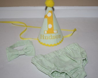 baby boys first birthday outfit, green seersucker with yellow trim, boys 1st birthday outfit,  cake smash set, boys diaper cover