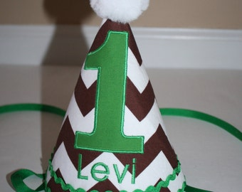 football first birthday hat for boys, boys 1st birthday hat, brown white chevron green trim, personalized birthday hat, cake smash hat