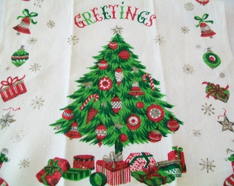 SALE - Christmas Linen Towel, Kitchen, Christmas tree, 1960s