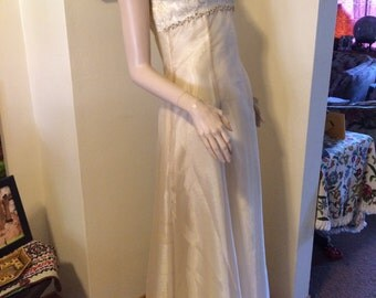 SALE Vintage 60s Gold Chiffon Satin Brocade full sweep Wedding Prom Party Evening Gown Size Small