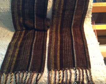 Brown & Gold Striped Chenille Scarf