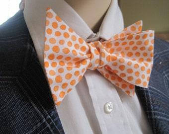 Small Polka Dot Orange Splash Bow Tie