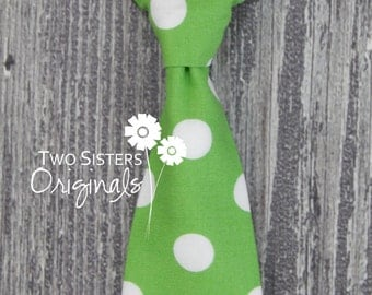 Christmas Neck Ties - Infant/Toddler/Child - Green Polka Dots