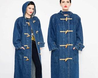 90s RALPH LAUREN Denim Jacket Long Toggle Jacket Hooded Duster 1990s Oversize Coat Medium Large M L