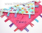 Personalized Lovey Baby Tag Blanket - Hot Pink Minky with Birds and Flowers Minky