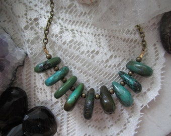 Turquoise Teardrop Stone Bib Necklace - Antique Brass Chain - 18-inch Layering Necklace