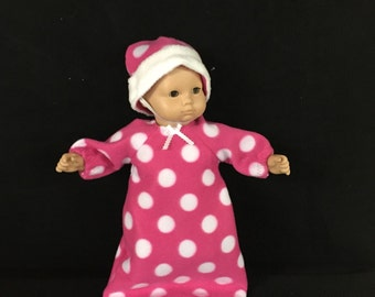 American Girl Bitty Baby or Bitty Twin Dolls or 15 Inch Doll Clothes Pink Polka Dot Print Baby Bunting or Sleep Sack