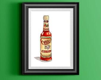 Cholula Hot Sauce Watercolor Painting, Kitchen Wall Art, Digital Print