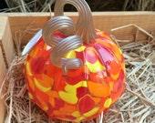 Bright Orange Mix Blown Glass Pumpkin