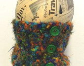 Eyelash head band, neck warmer, collar, scarf, scarflet, green blue orange, Free shipping in the US