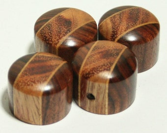 Set of 4 Rosewood and Royal Poinciana Flame Guitar Knobs (7/8 dia x 11/16h)