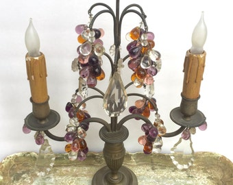 Antique French Purple Pink & Amber Glass Grapes Bronze  Boudoir Lamp Candelabra Girandole Table Chandelier