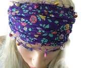 Purple floral headband, boho cotton hairband stretch headband with crochet edging and beads, floral purple bohemian hairband/turban