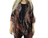 Bohemian Kimono- Burnt brown, black and flesh-Animal print - Chiffon kimono jacket-Only one available