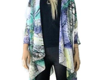 Boho Kimono cardigan -Lagenlook kimono-Spring Abstract with lavender turquoise green yellow-oversize chiffon kimono- summer collection