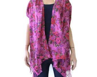 Pink floral cotton summer cardigan with fringes  -Layering piece-Many colors