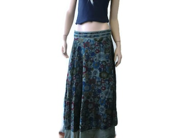 Bohemian Khaki  floral long cotton wrap skirt made with two layers of cotton fabric-Summer fashion
