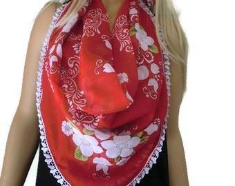 Anatolian Cotton/silk blend Gauze Scarf..Neck scarf...Head scarf/Red and white floral