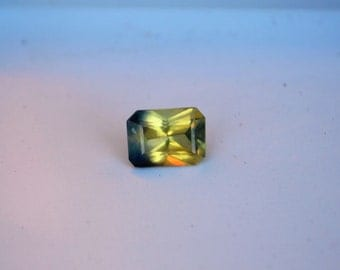 7x5mm Unheated Yellow Madagascan Sapphire Lemon Color Emerald Cut Bi Color