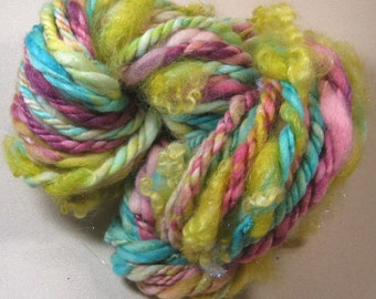 Smarties Super-Bulky Handspun Polwarth/Silk Art Yarn for knitting, weaving, crochet