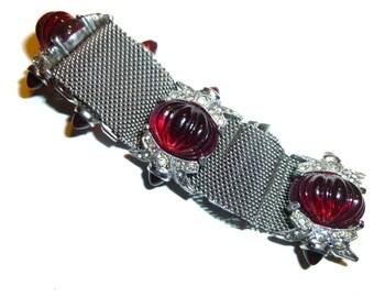 Vintage Bracelet. Mesh Glass Cabachon and Rhinestone. Circa 1950s. Very Unusual Red Glass & Silver Tone Costume Jewelry Bracelet.