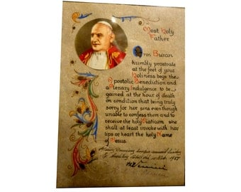 Plenary Indulgence Prayer Card. 1958 Pope John XXIII. Vatican Seal. Signed by Bishop D Venini. Visit to Rome. Catholic Interest..