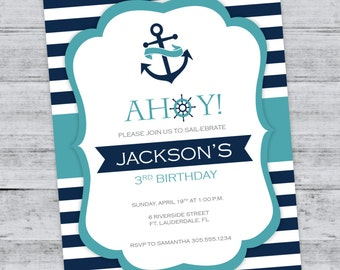 Nautical Anchor Birthday Invitation, Nautical Birthday Party, Nautical Stripes, Sailor, PRINTABLE INVITATION
