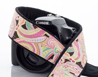 dSLR Camera Strap, Light Pink Paisley, SLR, 42