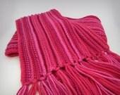 Pink Striped Merino Wool Scarf, Crochet Knit Scarf