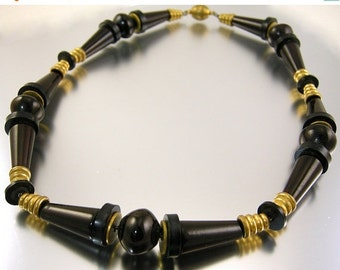 30% Off Sale Art Deco Necklace Black and Dark Brown Bakelite and Brass Spacers