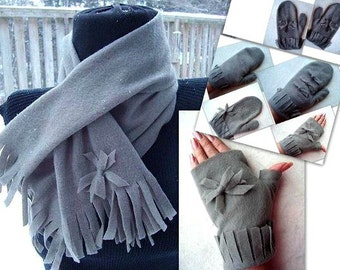 Tutorial 219  Make a Scarf and Mittens or Fingerless Gloves or a Head Wrap, Headband - sewing machine optional - Instant Download