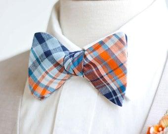 Bow Ties, Bow Tie, Bowties, Mens Bow Ties, Freestyle Bow Ties, Self-Tie Bow Ties, Groomsmen Bow Ties - Navy And Orange Organic Madras Plaid
