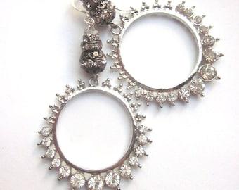 Rhinestone Hoop Dangle Earrings Wedding Crystal Jewelry OOAK
