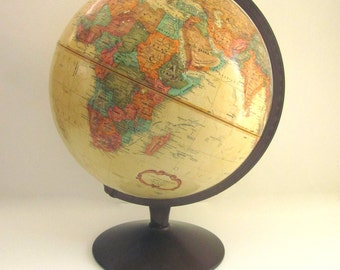 Vintage Tan Globe Replogle 12 inch World Classic Office Library Decor