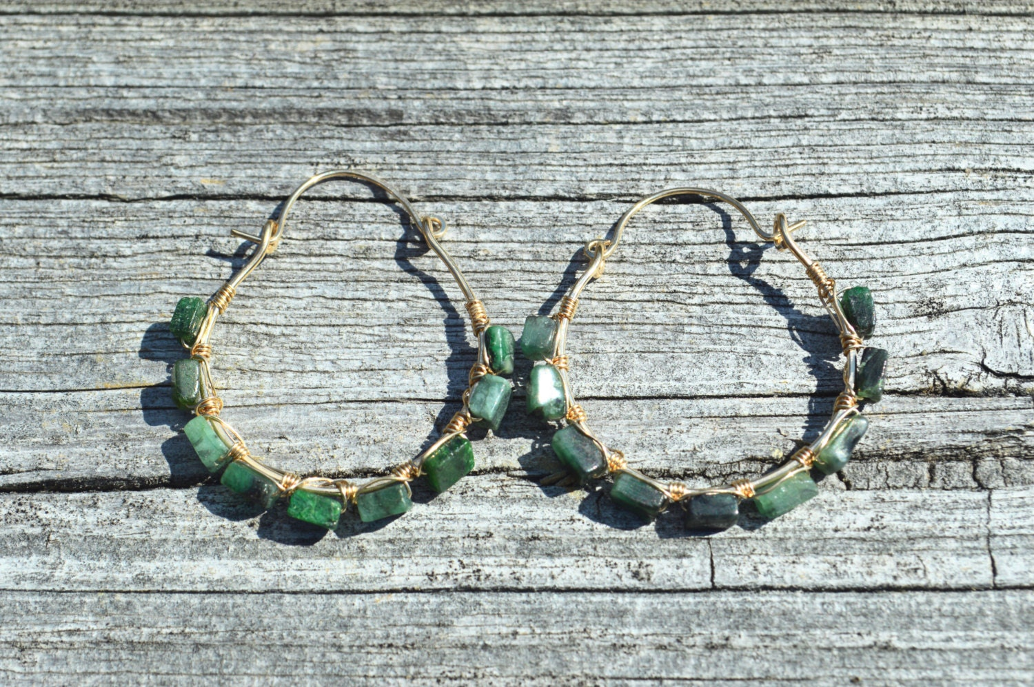 Emerald and gold wire wrapped hoop earrings, emerald earrings, May ...