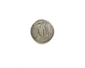 Love Token Silver Victorian Charm Monogram AFW Seated Liberty Dime Engraved 1883