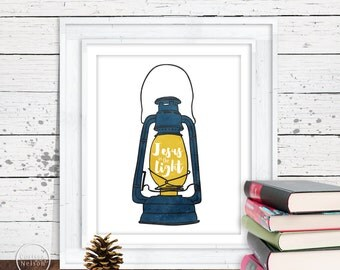 Lantern Jesus is the Light Christian Art in Blue - 8x10 Printable
