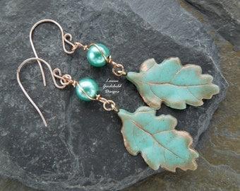 Verdigris leaf earrings, bronze earrings, oak leaf earrings, pearl earrings, teal earrings, turquoise earrings, nature inspired